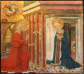 Bartolomeo Caporali - The Annunciation, a joint work by Caporali and Bonfigli