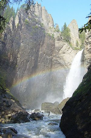 Base of Tower Fall with rainbow.JPG