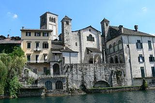 Basilica di San Giulio church building in Orta San Giulio, Italy