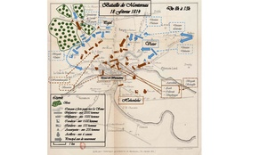 Map shows the Battle of Montereau.
