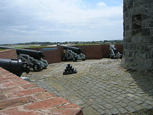 Guernsey loophole towers - The battery at Rousse tower