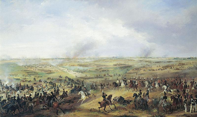 Москали заставляют миролюбивых немцев и австрийцев идти в бой против миролюбивых французов под Лейпцигом.