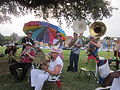 Bayou St John 4th of July NOLA 2012 Band Umbrella 2 Sousaphones.JPG