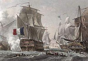 Second Battle of Algeciras - Beau fait d'armes du capitaine Troude by Morel-Fatio, oil on canvas.