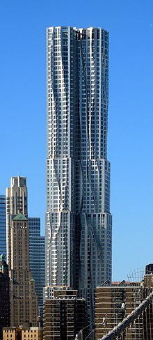18bafa7e1 The tower at 8 Spruce Street in Lower Manhattan, completed in February  2011, has a stainless steel and glass exterior and is 76 stories high (2011)