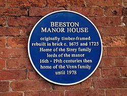 Beeston manor house plaque