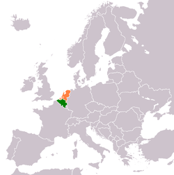 Map indicating locations of Belgium and Netherlands