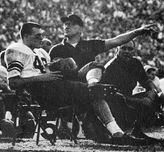 Ben Schwartzwalder - Schwartzwalder with quarterback Dick Easterly at the Los Angeles Coliseum, 1959