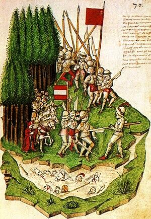 Battle of Morgarten - Image: Bendicht Tschachtlan, Die Schlacht am Morgarten (c. 1470)