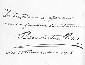 The handwriting of Pope Benedict XV Benedictxvhandwriting.jpg