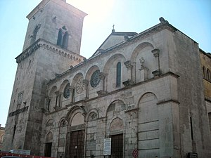 Benevento Cathedral - The Romanesque façade.