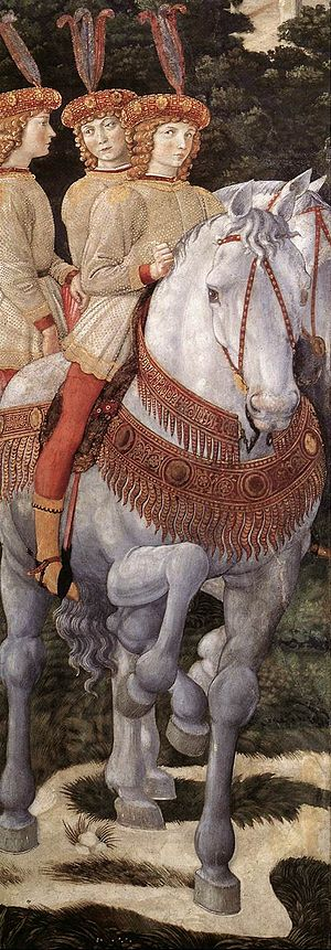 Bianca de' Medici - Detail of the ''Journey of the Magi'', fresco by Benozzo Gozzoli, sometimes thought to show Bianca between her sisters Maria and Nannina
