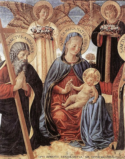 Benozzo Gozzoli - Madonna and Child between Sts Andrew and Prosper (detail) - WGA10333