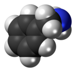 Space-filling model of the benzylamine molecule