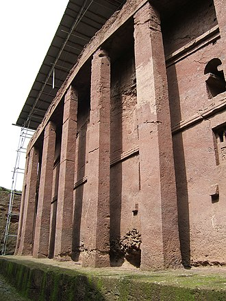 Architecture of Ethiopia - Bete Medhane Alem in Lalibela, the largest monolithic church in the world.