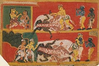 Jarasandha - Painting showing Bhima slaying Jarasandha