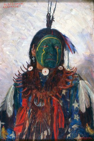 Arapaho - Painting of Black Man, an Arapaho warrior with face paint and feathers. By E.A Burbank, 1899.