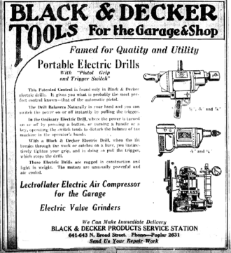Black & Decker - 1920 ad for the drills.