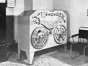 Ludwig Blattner - Blattnerphone steel tape recorder at BBC studios, London, 1937