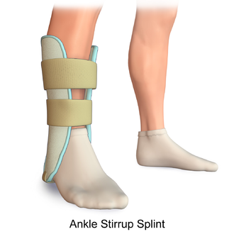 Splint (medicine) - Illustration of an Ankle Stirrup Splint