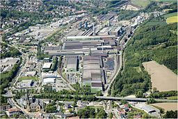 This picture shows the steel mill in Georgsmarienhütte from bird eye perspective