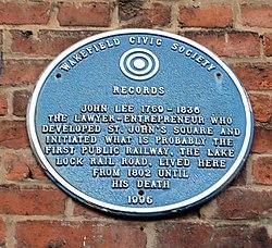 Photo of John Lee blue plaque