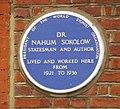 Blue Plaque for Dr Nahum Sokolow, Compayne Gardens, London NW6 - geograph.org.uk - 1127569.jpg