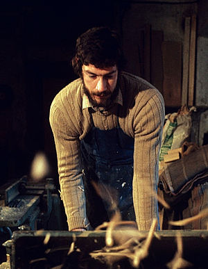 Bob Lienhard - Bob Lienhard engaged in carpentry works, his principal hobby. Italy, 1975