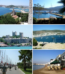 Clockwise from top left: 1st: View of Bodrum from castle of St.Peter, 2nd: Port Atami, 3rd: A view of Bodrum, 4th: Seaside at Bodrum , 5th: Marina in Bodrum, 6th: Bodrum Castle.