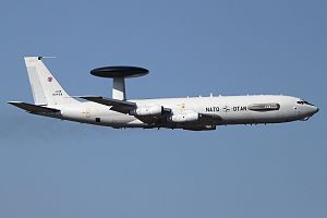 A NATO E-3 Sentry, the aircraft type used for monitoring in Operation Sky Monitor