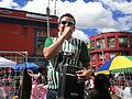 Bogota barrio San Victorino anunciante.JPG