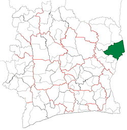Location in Ivory Coast. Bondoukou Department has had these boundaries since 2009.