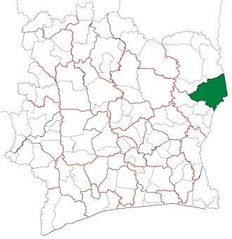 Bondoukou Department - Image: Bondoukou Department locator map Côte d'Ivoire