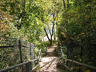 St. Croix Boom Site - The staircase leading to the riverbank