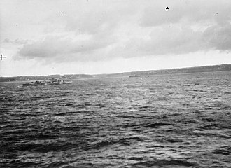 Battle of Audierne Bay -  HMCS Iroquois going in to torpedo one of the German ships driven aground