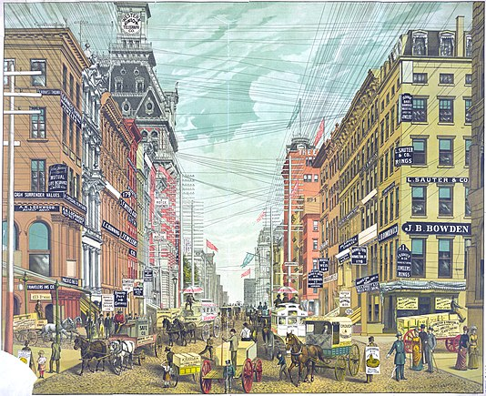 In 1885, the Broadway commercial district was overrun with telephone, telegraph, and electrical lines. This view was north from Cortlandt and Maiden Lane. Broadway-1885-APL.jpeg