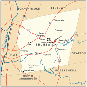 Clums Corners, New York - Image: Brunswick New York with hamlets schools and town hall
