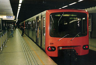 Brussels Metro - Brussels metro train at station Rogier