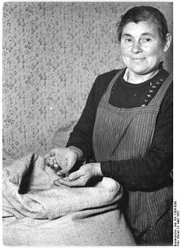 Bundesarchiv Bild 183-17869-0006, Großrodensleben, Bäuerin mit Weizenspende