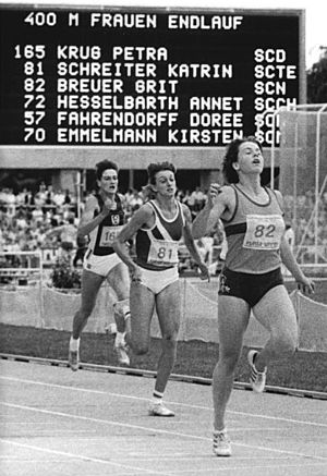 Katrin Schreiter - 1989 GDR championships, L-R: Petra Krug, Katrin Schreiter, Grit Breuer