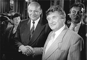 Tino-Antoni Schwierzina - West meets East.  West Berlin Mayor Walter Momper with soon-to-be East Berlin mayor Tino Schwierzina  (6 May 1990)