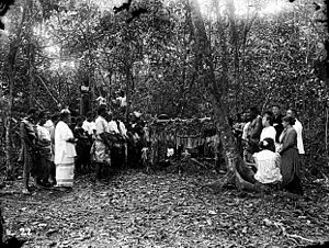 Mount Vaea - Stevenson's burial on Mount Vaea, 1894. Photo by Thomas Andrew.