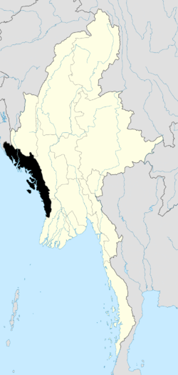 Location of Rakhine State in Burma
