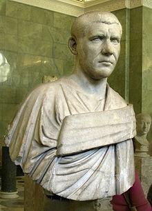 Ritratto di Filippo l'Arabo, che inviò Decio in Pannonia a sedare la rivolta di Pacaziano e che se lo vide tornare in Italia alla testa delle truppe che l'avevano acclamato imperatore, Filippo morì in occasione di una battaglia nei pressi di Verona, forse ucciso dai propri uomini.
