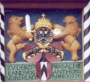 Lenzburg - Coat of Arms from Lenzburg castle, showing some of the history of the castle.  At the bottom, the coat of arms of the von Erlach family, above that the flag of the canton of Bern, all topped by the Reichsadler of the Holy Roman Empire.