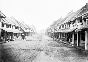 Kota Tua Jakarta - A street in Old Batavia in 1890, depicting 17th century housing before the development of a business district.