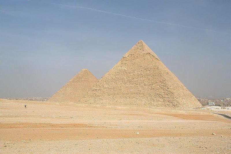 File:Cairo, Gizeh, Pyramids of Kephren and Khufu, Egypt, Oct 2004.jpg