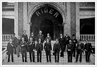 1904 Cambridge Springs International Chess Congress - Participants of the tournament on the steps of the Hotel Rider, 1904