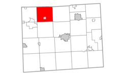 Location within Lenawee County (red) and the administered village of Onsted (pink)