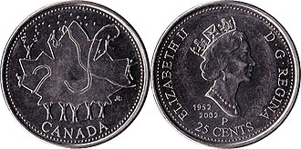 Quarter (Canadian coin) - Image: Canada $0.25 2002 canada day